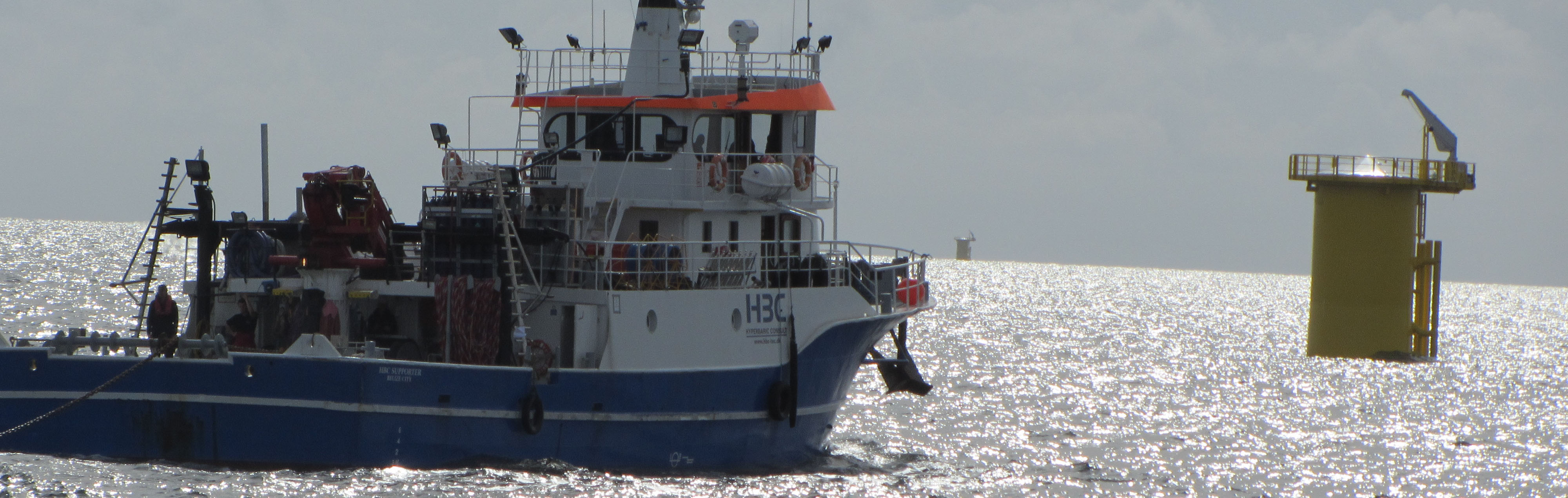 HBC Supporter sailing in offshore windfarm
